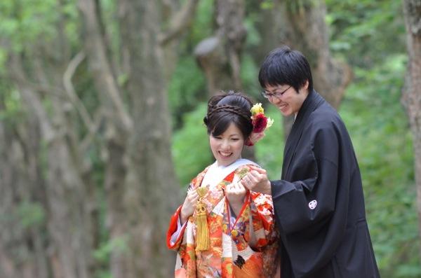京都植物園で和装写真