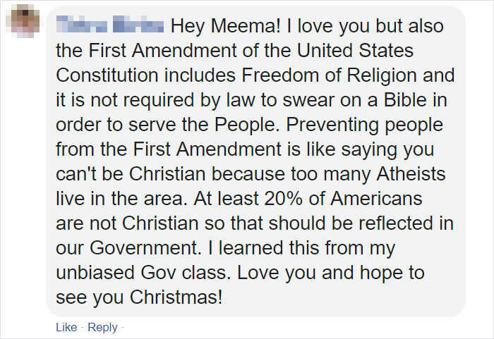 Teenage Girl Responds Brilliantly To Her Grandmother's Facebook Posts About Politics And Religion