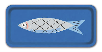 small blue tray with a sardine picture