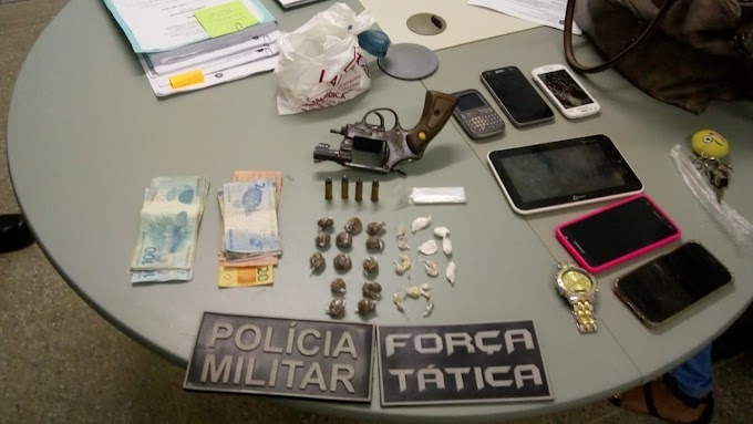 MULHER PRESA NO CENTRO DE PORANGA COM ARMA E DROGAS