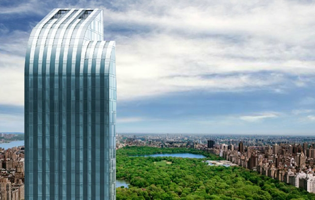 Rendering of One 57 by Christian de Portzamparc top floors with central park in the distance