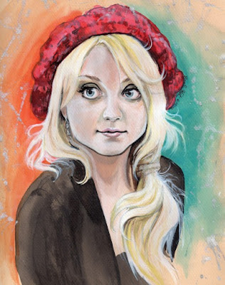 Evanna Lynch Luna Lovegood Acrylic inks on Pastel Paper by Sarah Kristin