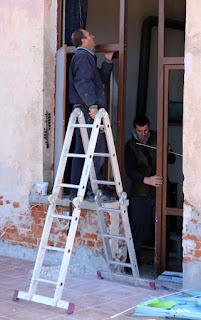 Window men back and fitting the new doorway