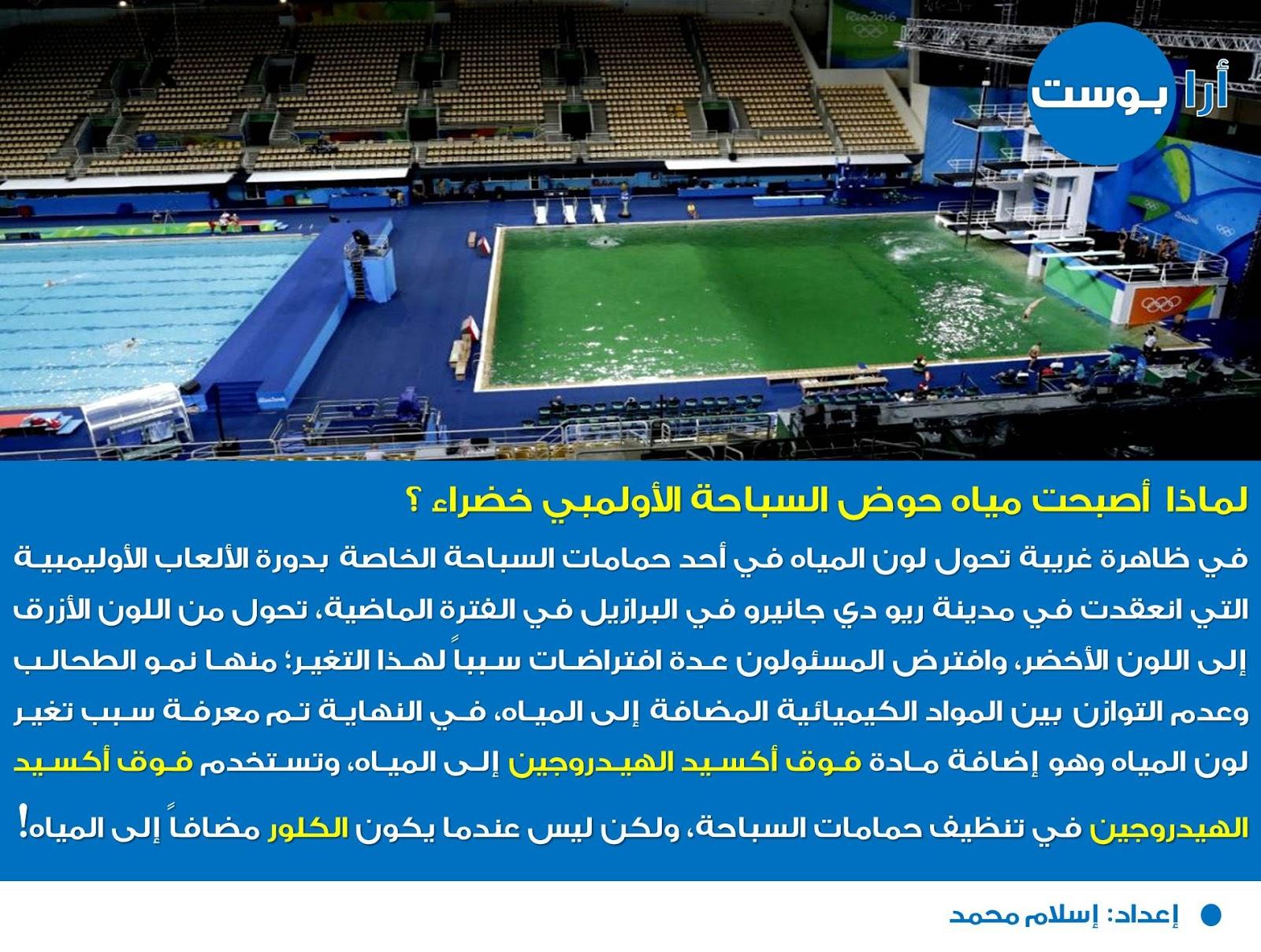 لماذا أصبحت مياهُ حوض السباحة الأولمبي خضراء ؟