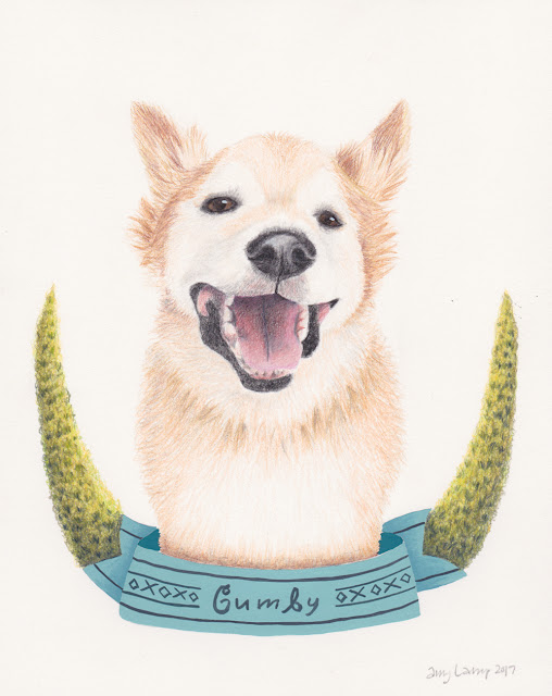 colored pencil and mixed media portrait of Gumby the Corgi