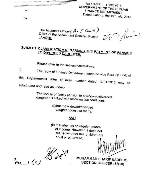 CLARIFICATION REGARDING PAYMENT OF PENSION TO DIVORCED DAUGHTER