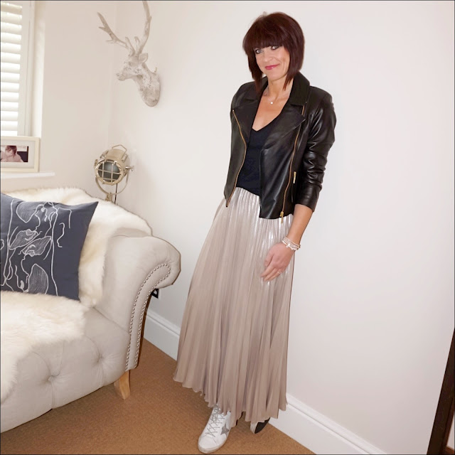 my midlife fashion, baukjen leather everyday biker jacket, golden goose super star low top leather trainers, j crew vintage cotton v neck t shirt, debenhams jenny packman gold pleated maxi skirt