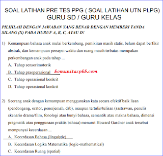 Download Soal Pretest PPG SD Tahun  2018