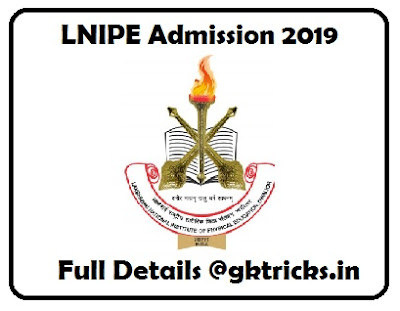 LNIPE BPED - MPED Admission