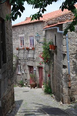 Vista de una calle del pueblo llena de plantas