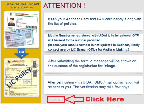 how to link lic policy with aadhaar card