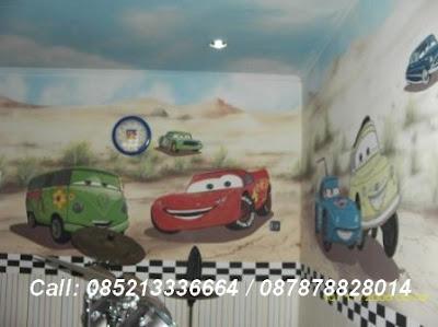Lukis dinding gambar cars