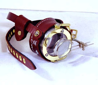 Steampunk moocle made of brass metal and leather with 2 magnifying loupe lenses (jeweler lenses) for costumes and cosplay
