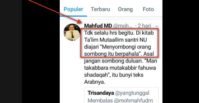 Memalukan!! Pak Mahfudz MD, Terlanjur Sombong Eh Salah kutip dan tak bisa bahasa arab