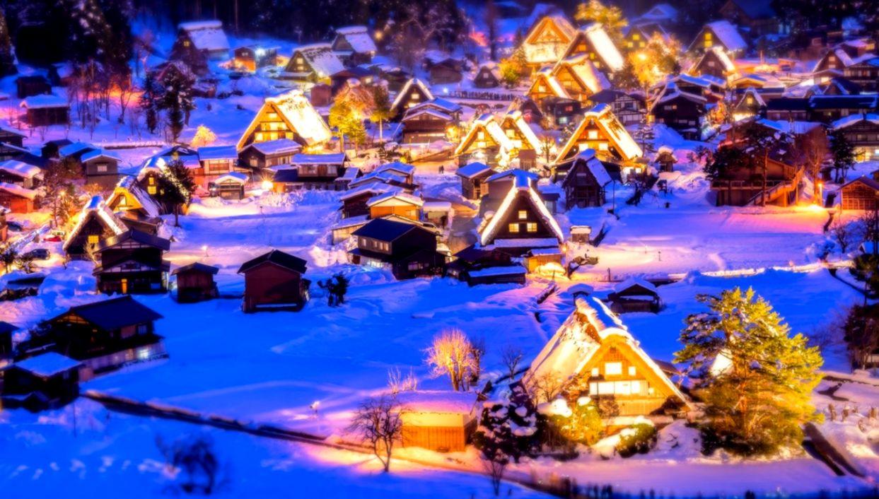 The Original Snow Village Wallpaper Viva Wallpapers