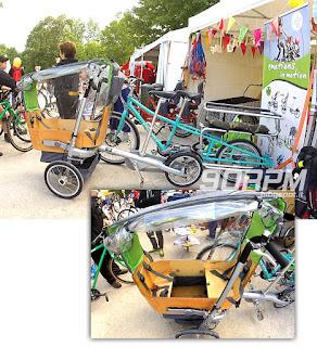 Cyclopride Day: cargo bike dotata di seduta per bambini con cinture di sicurezza e capottina contro pioggia e vento