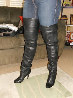 Ebay Leather Vintage Wild Pair Black Leather Crotch Boots