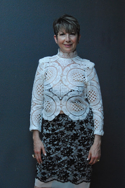 WHITE LACE BLOUSE WITH BLACK & WHITE FLOWER PTINT PENCIL SKIRT