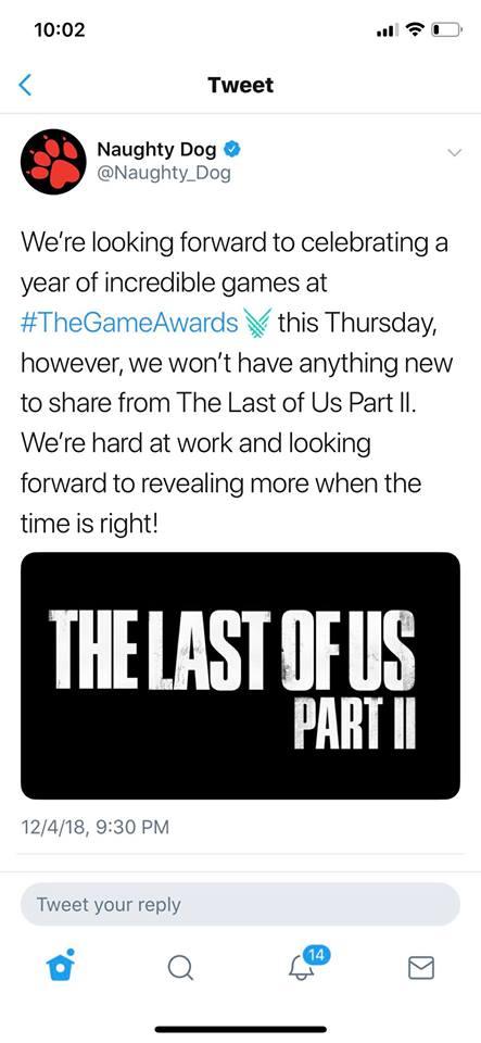 رسميا أستوديو Naughty Dog يحسم إمكانية تواجد لعبة The Last of Us Part 2 خلال حفل TGA 2018