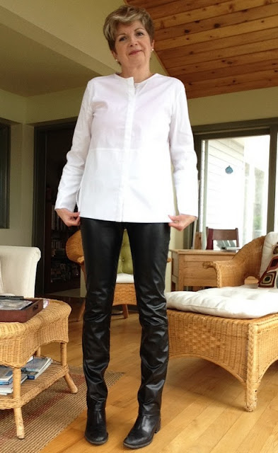 Cole Haan boots, Holt Renfrew leather trousers, Massimo Dutti white shirt