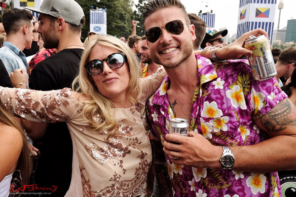 Loud shirts, friends, mug for my camera. Harbour Life Music Festival Sydney 2016. Photographed by Kent Johnson for Street Fashion Sydney.