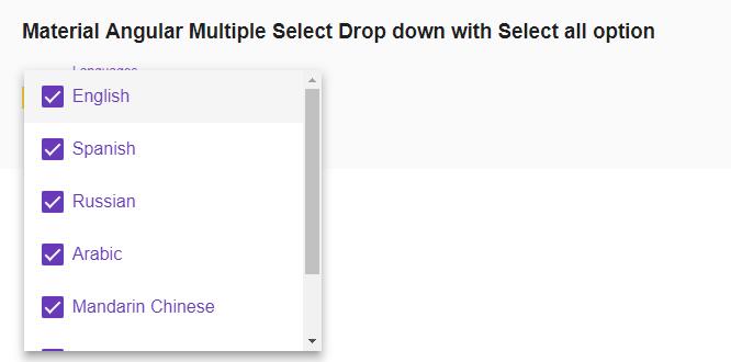 Material Angular Multi-Select drop down|Mat CheckBox|Select All
