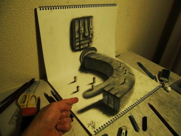 Gambar Sketsa 3 Dimensi Yang Kreatif Keren dan Juga Menakjubkan-10