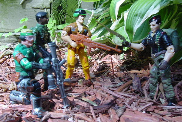 1991 Grunt, Funskool Flint, 1994 Action Soldier, 2002 Mirage, 1997 Stalker