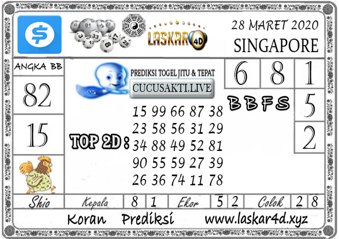 Prediksi Togel SINGAPORE LASKAR4D 28MARET 2020