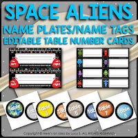 Space Classroom Decor Theme: name plates, name tags, table numbers, editable circle labels.