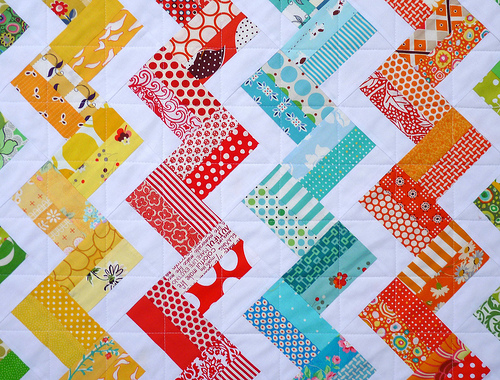 Red pepper quilts zig zag rail fence quilt and new