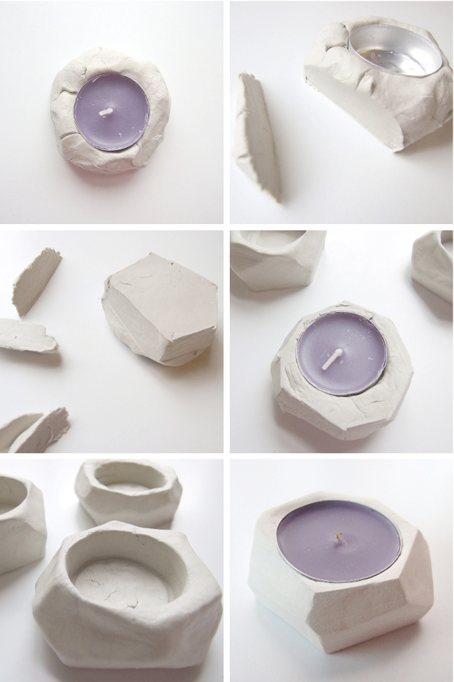 diy faceted clay tealight holders l