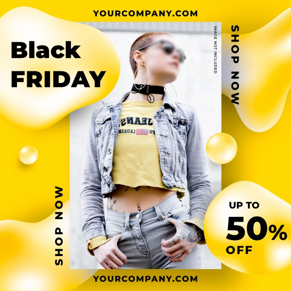 Black friday square poster free psd template
