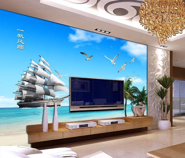 Tranh Dán Tường 3D  Thuận Buồm Xuôi gió Phong Thủy