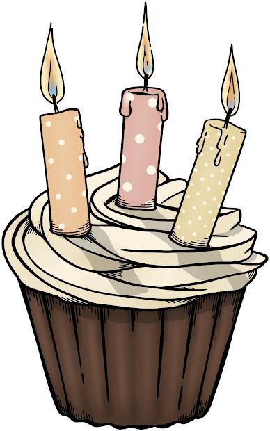 august birthday cupcake clipart
