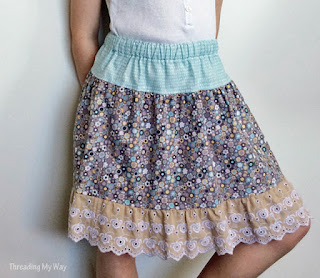Learn how to make a gathered cotton and lace skirt for girls aged 2 - 5. Tutorial by Threading My Way