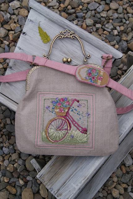 сумка на фермуаре, вышивка велосипед, сумочка в стиле прованс, французский ширм, подарок к новому году, текстильная сумка