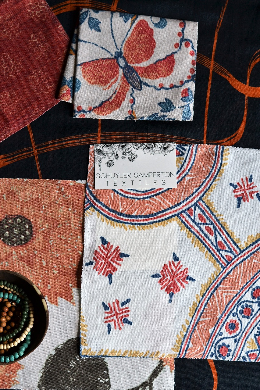 Schuyler Samperton Textiles, designs: Nellcote, Caledonia, Celandine · Lisa Hjalt