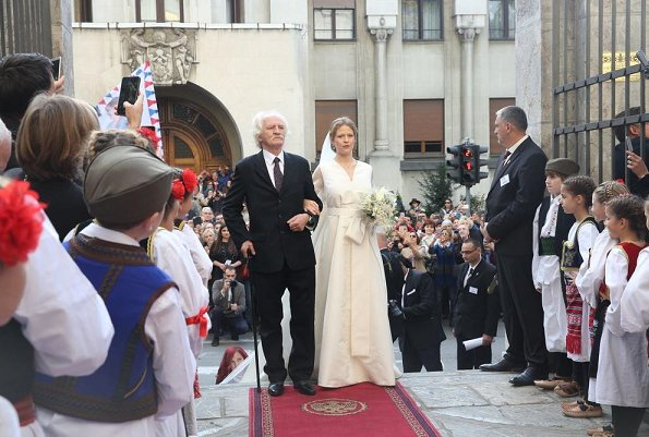Crown Princess Victoria wore HM Conscious Exclusive dress. Queen Sofia at Filip Karadjordjevic wedding.