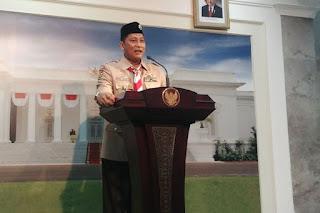 Budi Waseso usai dilantik Presiden Jokowi sebagai Ketua Kwarnas Pramuka, Kamis (27/12/2018) - Foto/KOMPAS.com