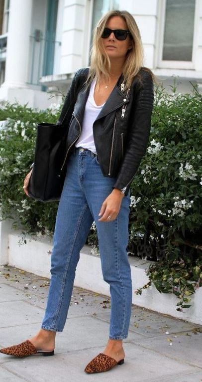 how to style a biker jacket : bag + white top + jeans + loafers