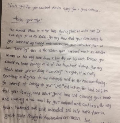'A woman's place is in the home' – See the misogynistic note a waitress got from an elderly Christian couple