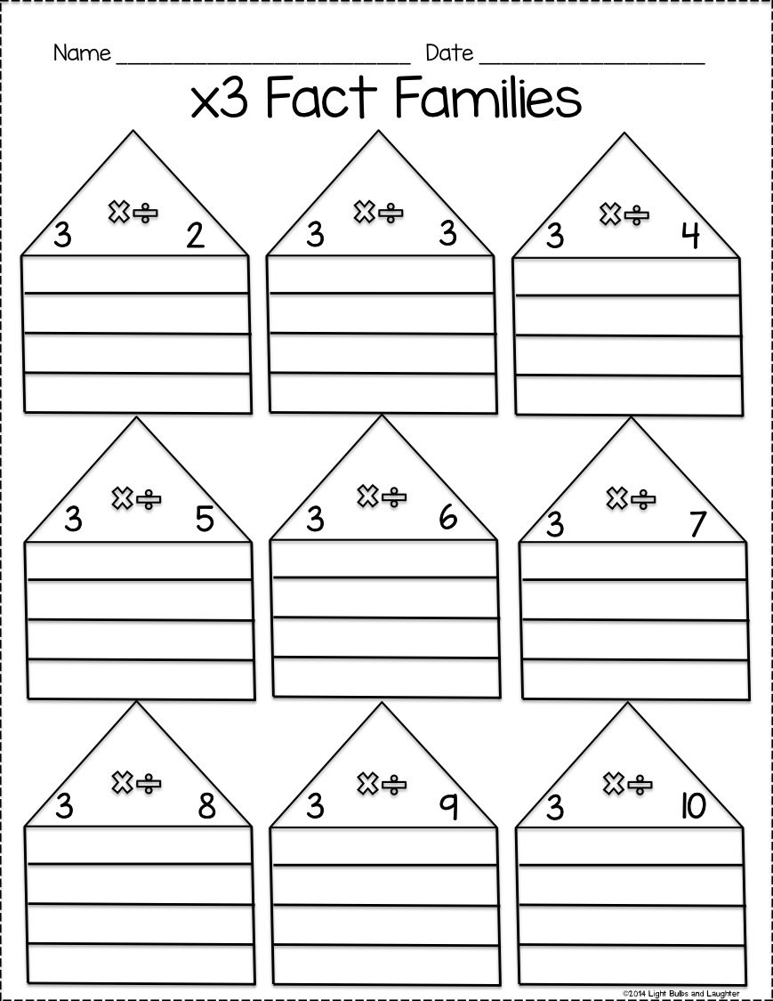 Multiplication and Division Fact Family Practice Pack - Light Bulbs and Laughter