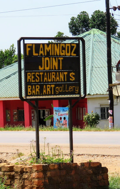 Flamingoz Joint sign on the equator in Uganda