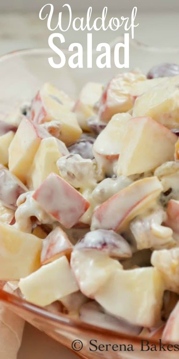 Classic Waldorf Salad Recipe with the addition of yogurt and honey to make a lighter, healthier dressing. Filled with apples, red grapes, raisins, and walnuts this is a class side dish for Thanksgiving or Christmas from Serena Bakes Simply From Scratch.