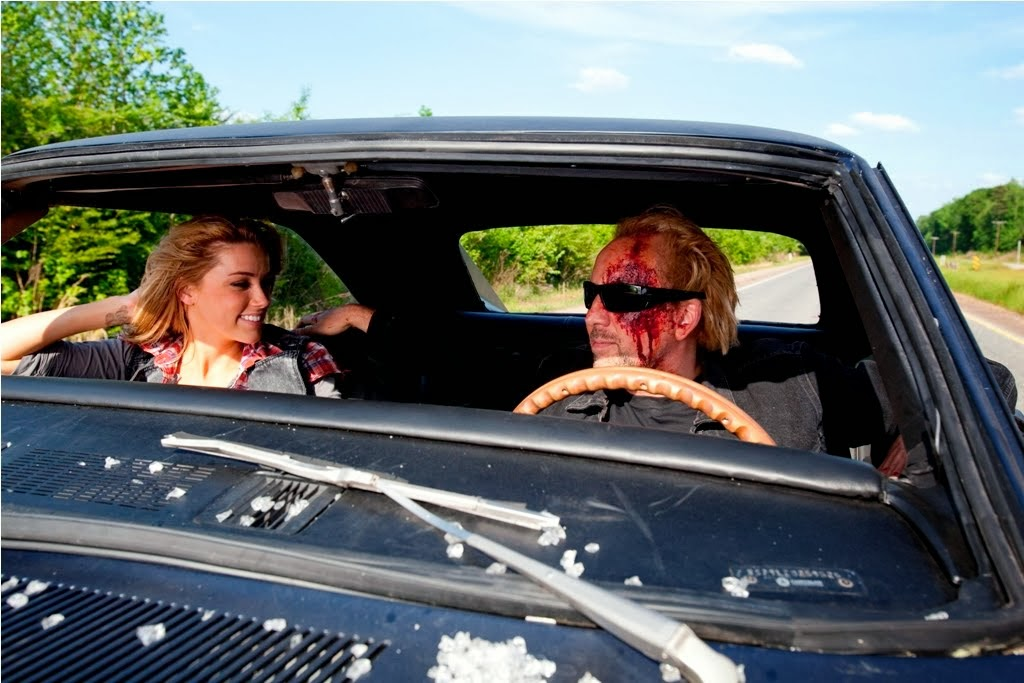 Amber Heard and Nicholas Cage in Drive Angry