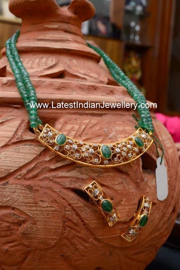 Emerald Beads Simple Pendant Set Latest Indian Jewellery
