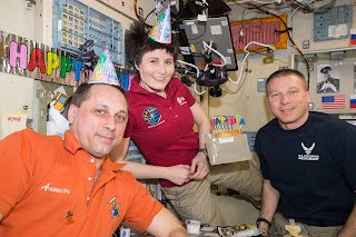 Cristoforetti celebrated her 28th birthday in space with crewmates Anton Shkaplerov (left) and Terry Virts