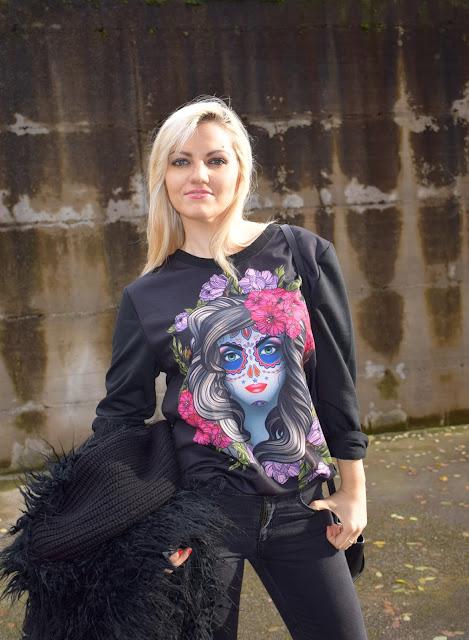 felpa nera con teschio donna rosegal skull sweatshirt roseola skull sweatshirt december outfits mariafelicia magno fashion blogger colorblock by felym fashion blogger italiane blogger italiane di moda web influencer italiane