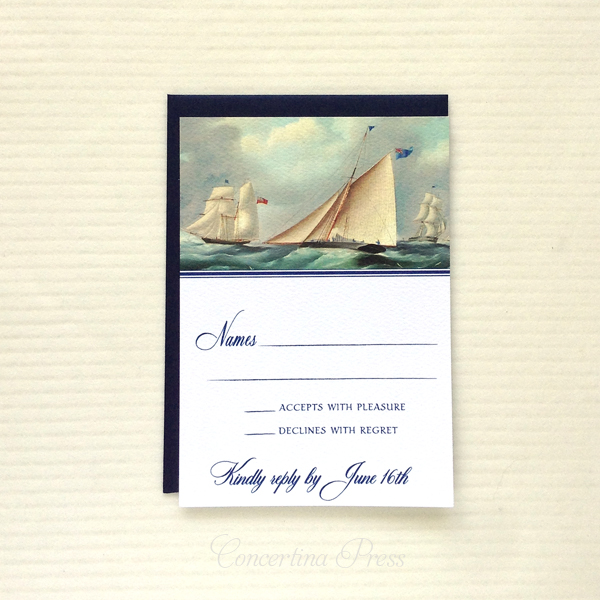 RSVP with sailboat painting for a nautical wedding
